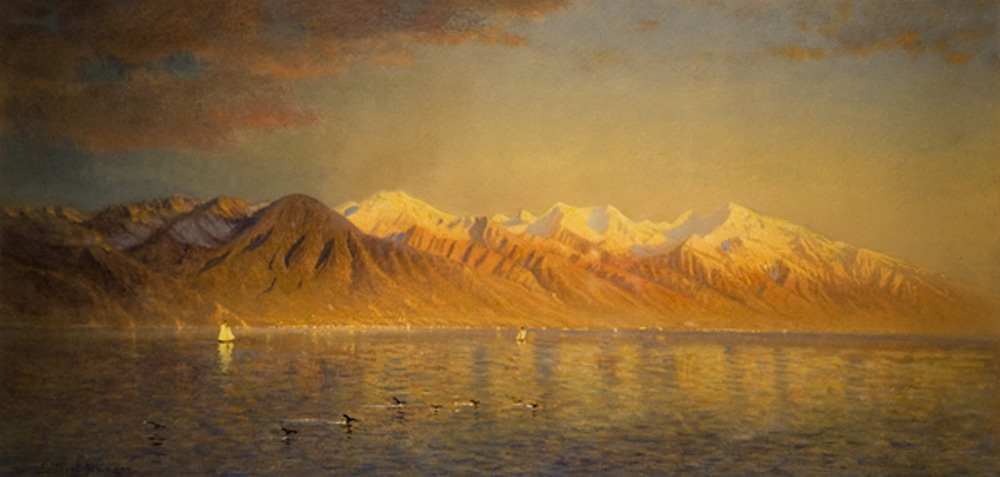 Gilbert Davis Munger (1837-1903), American, Great Salt Lake and the Wasatch Mountains, ca. 1875, oil on academy board, Utah Museum of Fine Arts, University of Utah, gift of Donald M. Burns, image courtesy of the Utah Museum of Fine Arts.