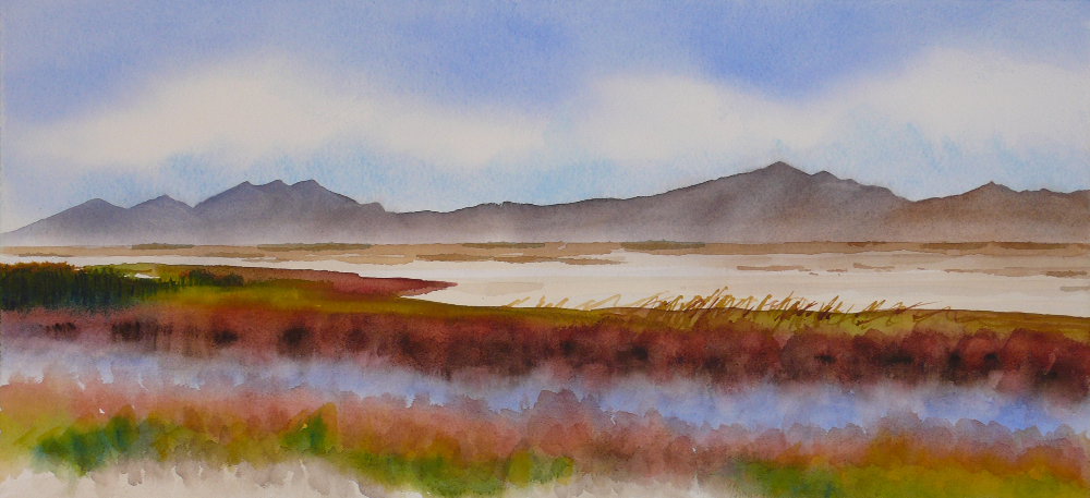 "Promontory Mountains from Bear River Refuge, October by <a href=""https://sites.google.com/site/seantoomeywatercolors/"">Sean Toomey</a>"